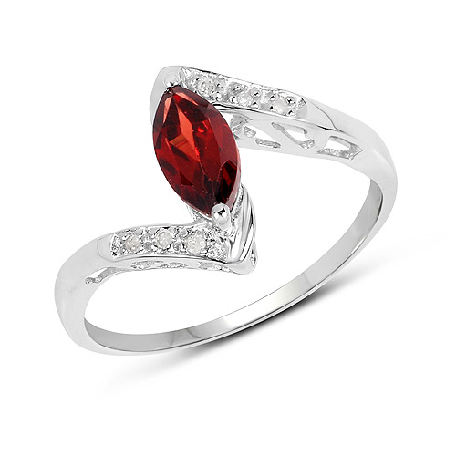 Garnet-0.68 Carat Genuine Garnet and White Diamond .925 Sterling Silver Ring