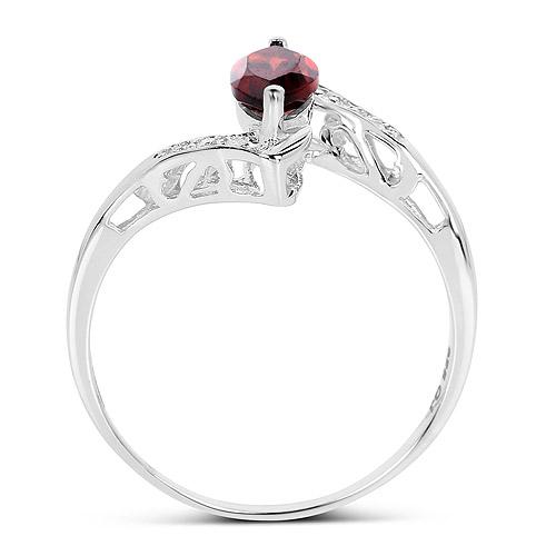 0.68 Carat Genuine Garnet and White Diamond .925 Sterling Silver Ring