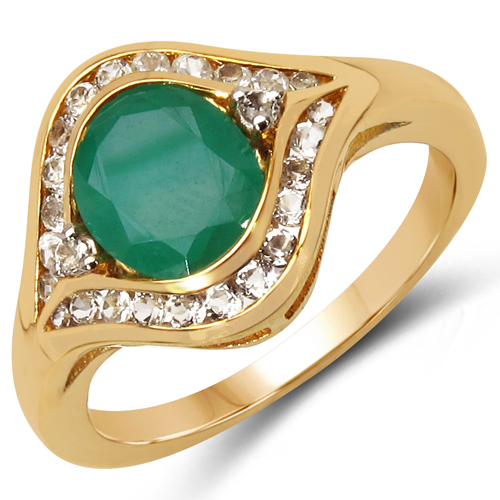 Emerald-14K Yellow Gold Plated 2.34 Carat Genuine Emerald & White Topaz .925 Sterling Silver Ring