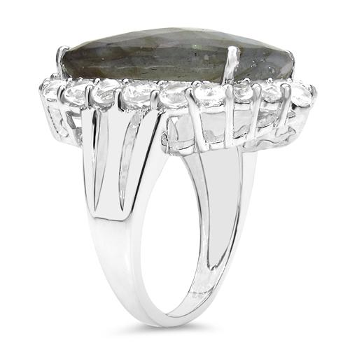 17.39 Carat Genuine Labradorite & White Topaz .925 Sterling Silver Ring