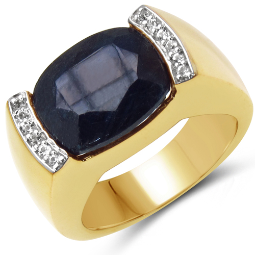 Sapphire-14K Yellow Gold Plated 9.07 Carat Genuine Sapphire & White Topaz .925 Sterling Silver Ring