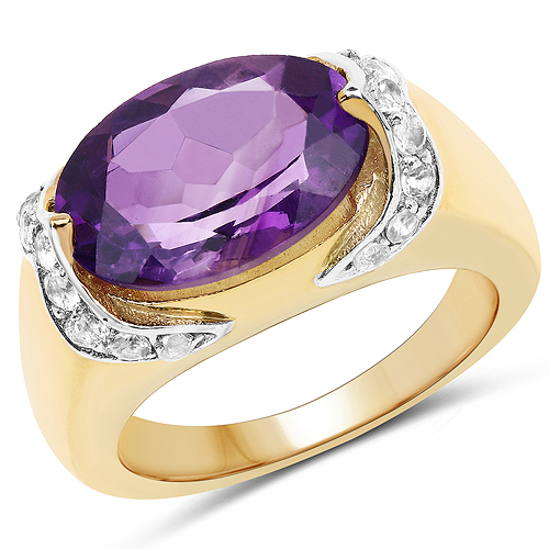 Amethyst-14K Yellow Gold Plated 4.98 Carat Genuine Amethyst and White Topaz .925 Sterling Silver Ring