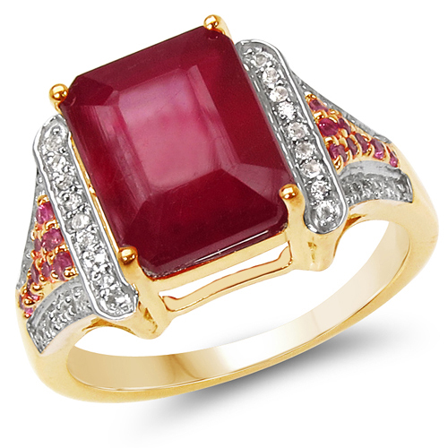 Ruby-14K Yellow Gold Plated 6.08 Carat Genuine Glass Filled Ruby, Pink Sapphire & White Topaz .925 Sterling Silver Ring