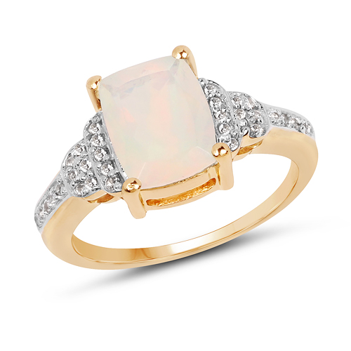 Opal-14K Yellow Gold Plated 1.16 Carat Genuine Ethiopian Opal & White Topaz .925 Sterling Silver Ring