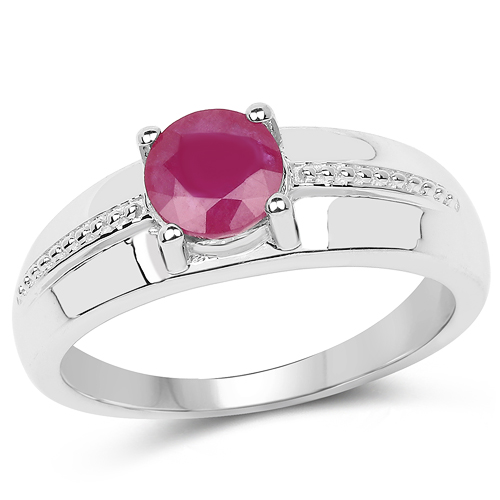 Ruby-1.10 Carat Genuine Ruby .925 Sterling Silver Ring