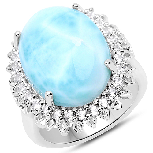 Rings-17.62 Carat Genuine Larimar and White Topaz .925 Sterling Silver Ring