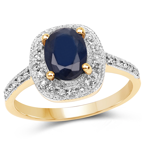 Sapphire-14K Yellow Gold Plated 1.68 Carat Genuine Blue Sapphire and White Topaz .925 Sterling Silver Ring