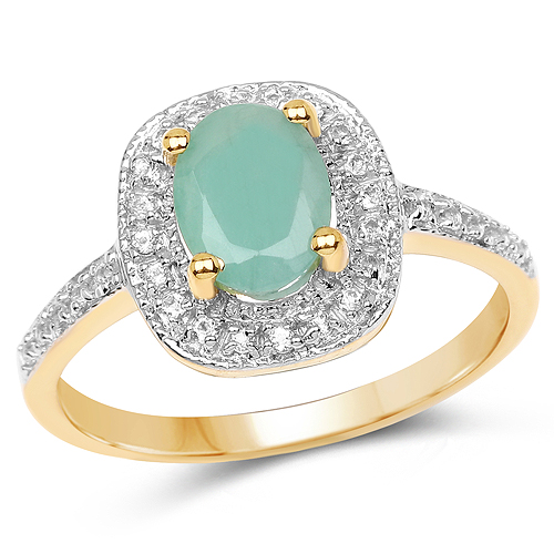 Emerald-14K Yellow Gold Plated 1.20 Carat Genuine Emerald and White Topaz .925 Sterling Silver Ring
