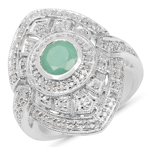 Emerald-1.03 Carat Genuine Emerald & White Diamond .925 Sterling Silver Ring