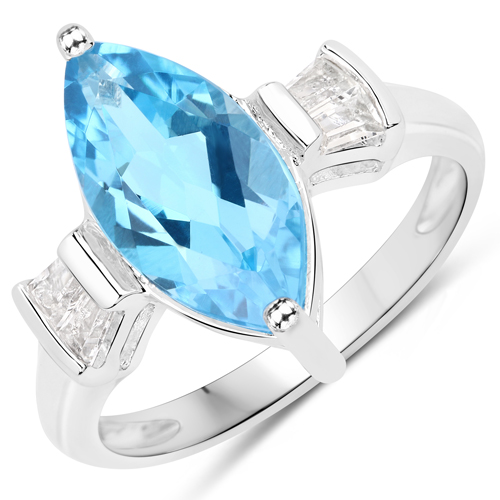 Rings-3.85 Carat Genuine Swiss Blue Topaz and White Topaz .925 Sterling Silver Ring