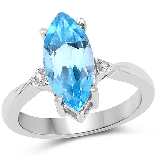 Rings-3.67 Carat Genuine Swiss Blue Topaz and White Diamond .925 Sterling Silver Ring