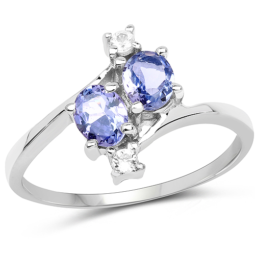 Tanzanite-0.76 Carat Genuine Tanzanite and White Sapphire .925 Sterling Silver Ring