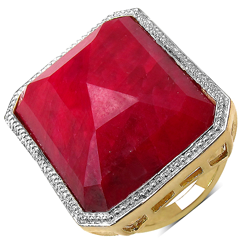 Ruby-14K Yellow Gold Plated 45.70 Carat Genuine Ruby .925 Streling Silver Ring