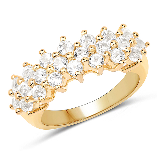 Rings-14K Yellow Gold Plated 1.76 Carat Genuine White Topaz .925 Sterling Silver Ring