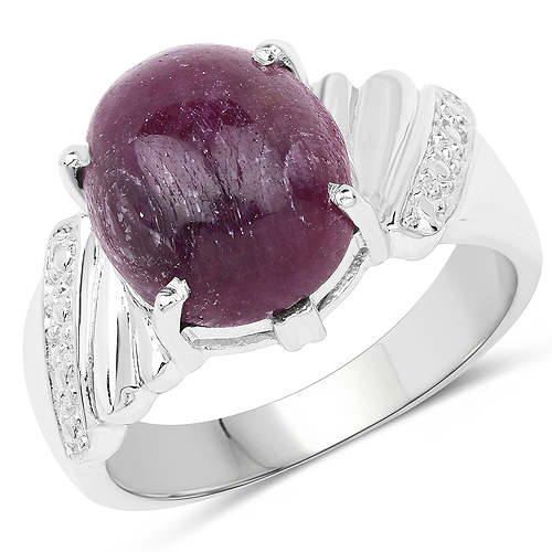 Ruby-7.50 Carat Dyed Ruby .925 Sterling Silver Ring