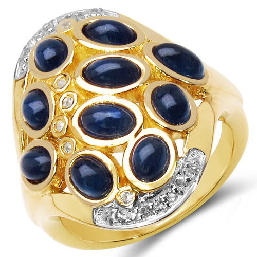 Sapphire-14K Yellow Gold Plated 3.86 Carat Genuine Sapphire & White Topaz .925 Sterling Silver Ring