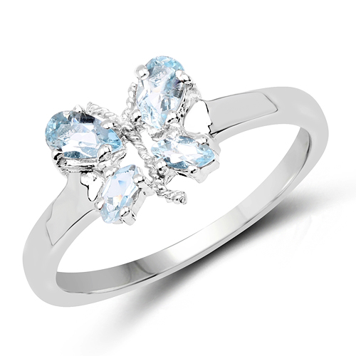 Rings-0.68 Carat Genuine Blue Topaz .925 Sterling Silver Ring