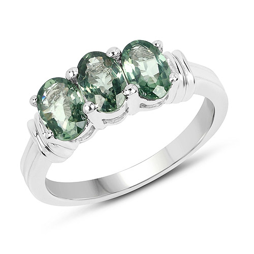 Sapphire-1.95 Carat Genuine Green Sapphire .925 Sterling Silver Ring