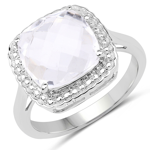 Rings-4.70 Carat Genuine Crystal Quartz .925 Sterling Silver Ring