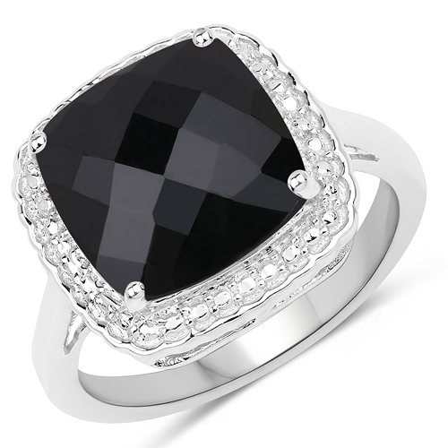 Rings-4.40 Carat Genuine Black Onyx .925 Sterling Silver Ring
