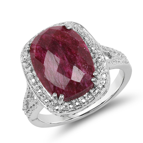Ruby-7.60 Carat Dyed Ruby .925 Sterling Silver Ring