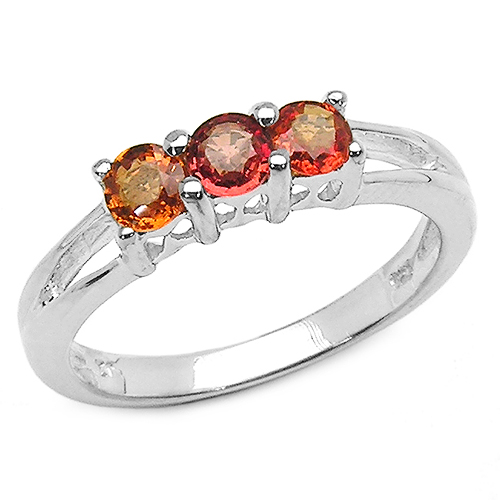 Sapphire-0.54 Carat Genuine Orange Sapphire .925 Sterling Silver Ring