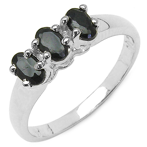 Sapphire-1.05 Carat Genuine Black Sapphire .925 Sterling Silver Ring