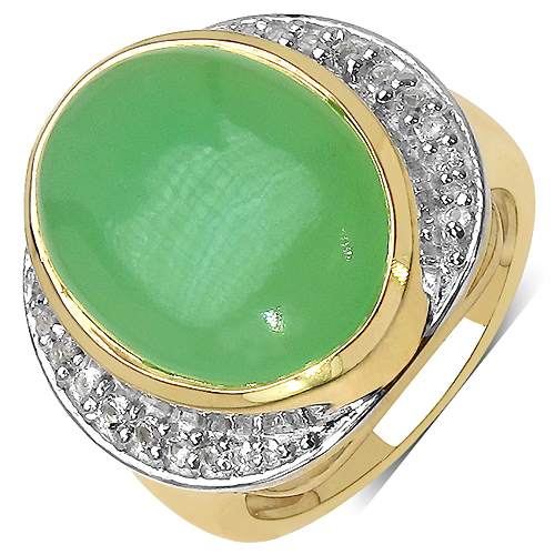Rings-14K Yellow Gold Plated 11.33 Carat Genuine Prehnite & White Topaz .925 Streling Silver Ring