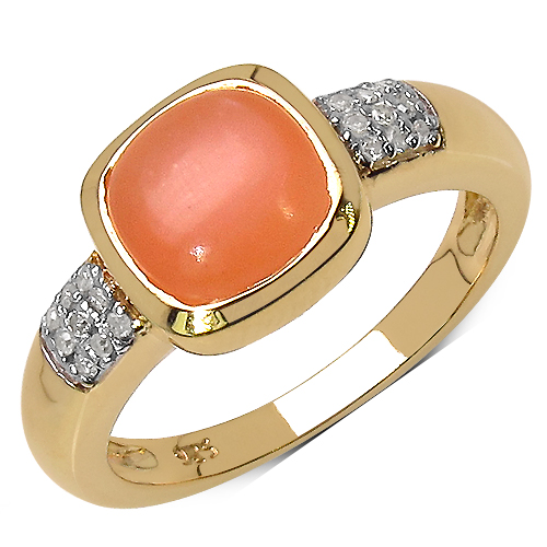 Rings-14K Yellow Gold Plated 2.10 Carat Genuine Moonstone & White Diamond .925 Streling Silver Ring