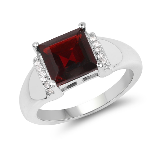 Garnet-2.90 Carat Genuine Garnet & White Topaz .925 Sterling Silver Ring
