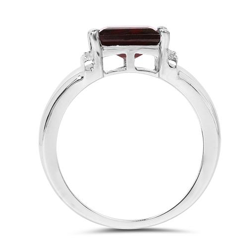 2.90 Carat Genuine Garnet & White Topaz .925 Sterling Silver Ring