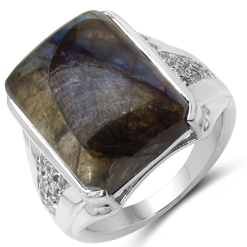 13.94 Carat Genuine Labradorite & White Topaz .925 Sterling Silver Ring