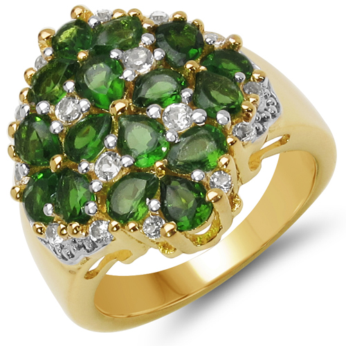 Rings-18K Yellow Gold Plated 2.80 Carat Genuine Chrome Diopside & White Topaz .925 Sterling Silver Ring