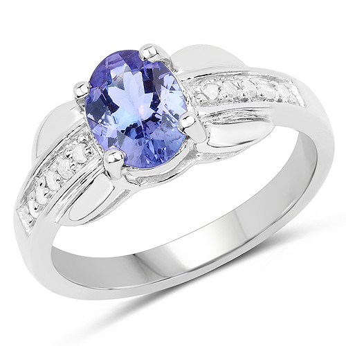 Tanzanite-1.27 Carat Genuine Tanzanite and White Diamond .925 Sterling Silver Ring