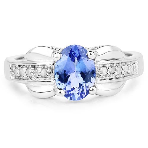 1.27 Carat Genuine Tanzanite and White Diamond .925 Sterling Silver Ring