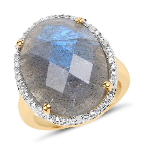 Rings-14K Yellow Gold Plated 12.10 Carat Genuine Labradorite and White Diamond .925 Sterling Silver Ring