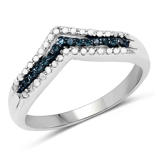 Diamond-0.25 Carat Genuine Blue Diamond and White Diamond .925 Sterling Silver Ring