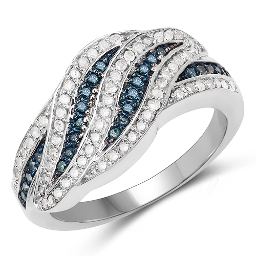 Diamond-0.47 Carat Genuine Blue Diamond & White Diamond .925 Sterling Silver Ring