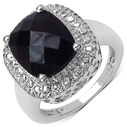 Rings-4.10 Carat Genuine Black Onyx .925 Sterling Silver Ring
