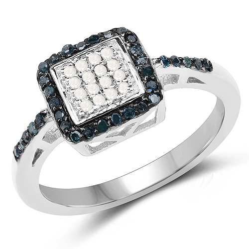 0.26 Carat Genuine Blue Diamond and White Diamond .925 Sterling Silver Ring
