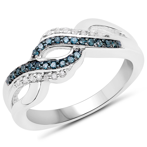 Diamond-0.19 Carat Genuine Blue Diamond and White Diamond .925 Sterling Silver Ring