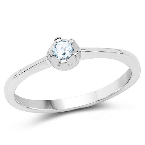 0.12 Carat Genuine Blue Topaz .925 Sterling Silver Ring