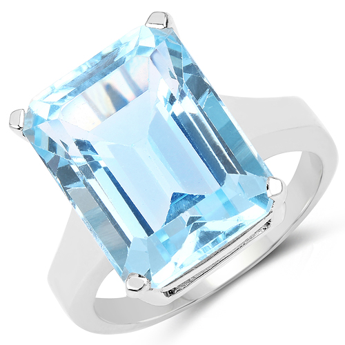 Rings-13.70 Carat Genuine Blue Topaz .925 Sterling Silver Ring