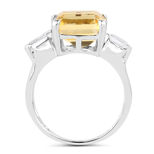 4.88 Carat Genuine Citrine & White Topaz .925 Sterling Silver Ring