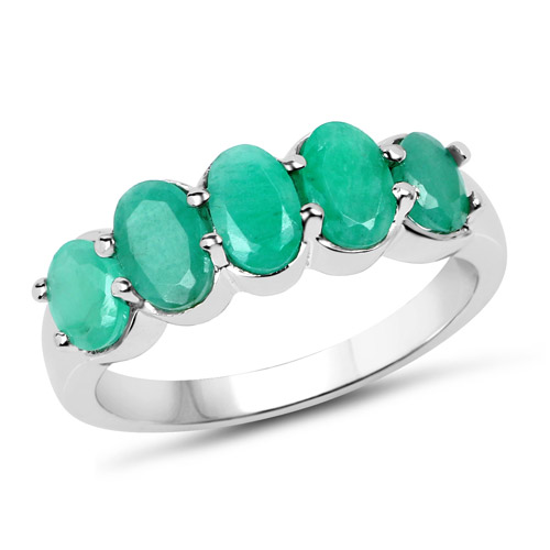 Emerald-1.78 Carat Genuine Emerald .925 Sterling Silver Ring
