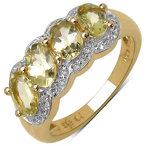 Rings-14K Yellow Gold Plated 1.78 Carat Genuine Yellow Beryl & White Topaz .925 Streling Silver Ring