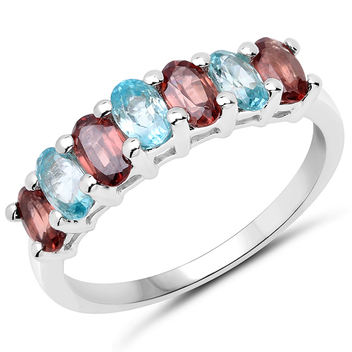 Rings-2.39 Carat Genuine Rassberry Zircon and Blue Zircon .925 Sterling Silver Ring