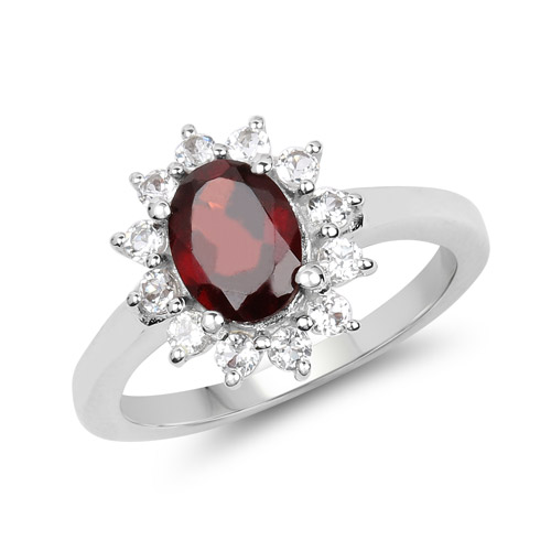 Garnet-2.08 Carat Genuine Garnet and White Topaz .925 Sterling Silver Ring
