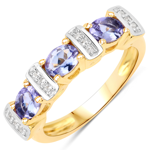 Tanzanite-14K Yellow Gold Plated 1.05 Carat Genuine Tanzanite and White Topaz .925 Sterling Silver Ring