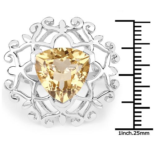 5.71 Carat Genuine Citrine .925 Sterling Silver Ring